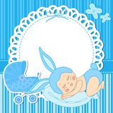 Card with baby boy born in bunny costume Stock Images