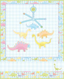 Card for baby boy, cute dino. Royalty Free Stock Photos