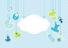 Card Baby Boy Hanging Icons Cloud Stars Pattern Blue vector illustration