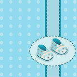 Card for baby boy shoes vector Stock Photo