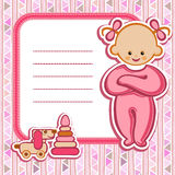 Card for baby-girl. Birthday card Nice Greeting card - template Cute simple Artistic hand drawn illustration - doodle For baby shower, greetings, invitation Stock Photos