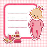 Card for baby-girl. Birthday card Nice Greeting card - template Cute simple Artistic hand drawn illustration - doodle For baby shower, greetings, invitation Stock Photography