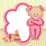 Card for baby girl. Birthday card Nice Greeting card - template Cute simple Artistic hand drawn illustration - doodle For baby shower, greetings, invitation Royalty Free Stock Photo