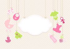 Card Baby Icons Girl And Cloud Background Dots Beige royalty free illustration
