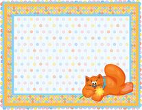 Card for baby, orange cat. Stock Photos