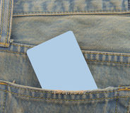 Card in a back pocket of a denim jeans as a background. Card  back pocket  jeans  background Stock Photo