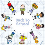 Card back to school. Children and education icons Royalty Free Stock Photo