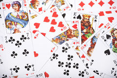 Card background. Close up of playing cards as abstract background royalty free stock images