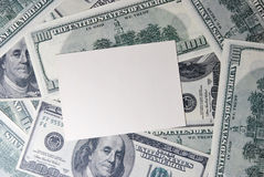 Card on the background of dollars Royalty Free Stock Photo