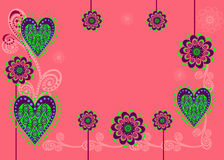 A card or background with flowers and hearts. Illustration with cute decoration and design elements Royalty Free Stock Photos