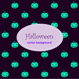 Card background with Halloween neo pumpkin Royalty Free Stock Photos
