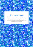 Card background with many little blue hearts and text template, a4 size vertical illustration Stock Photo