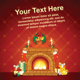 Card Background wit Christmas Decorative Fireplace Royalty Free Stock Images