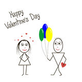 Card with balloons boy and girl Stock Photography