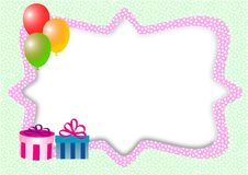 Card with balloons, gifts and text box Royalty Free Stock Photography