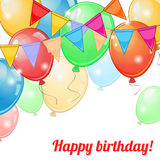 Card with balloons and pennants Stock Images