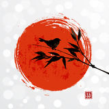 Card with bamboo bird and big red sun Royalty Free Stock Photography