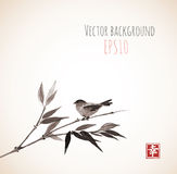 Card with bamboo and bird on vintage background Stock Images