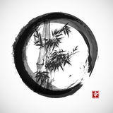 Card with bamboo in sumi-e style. Stock Photos