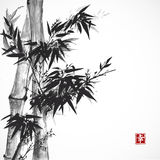 Card with bamboo in sumi-e style. Royalty Free Stock Photo