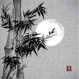 Card with bamboo in sumi-e style. Royalty Free Stock Photos