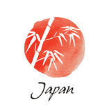 Card with bamboo on white background in sumi-e style. Hand-drawn with ink. Vector illustration. Flag of Japan Royalty Free Stock Image