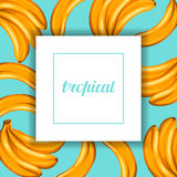 Card with bananas. Tropical abstract frame in retro style. Image for holiday invitations, greeting cards, posters Stock Photography