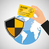 Card banking safe shield protection. Vector illustration eps 10 Royalty Free Stock Photos