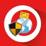Card banking safe shield protection. Vector illustration eps 10 Stock Image