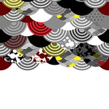 Card banner design fish scales simple Nature background with japanese sakura flower, Cherry, wave circle Black gray white Red Yell. Ow colors. trendy backdrop Stock Photo