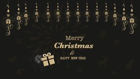 Card or Banner Merry Christmas and Happy New Year 2019 Gold Color Black Background