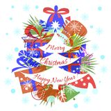 Card, banner, Merry Christmas, Happy New Year royalty free illustration