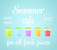 A card, a banner with a summer sale of fresh drinks. Royalty Free Stock Photo