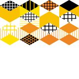Card banner template Geometric elements Memphis Postmodern Retro fashion style 80-90s. asymmetrical shapes Rhombus triangle patter. N. Orange Yellow pink black vector illustration