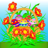 Card with a basket of Easter eggs and flowers. Illustration card with a basket of Easter eggs and flowers Royalty Free Stock Photo