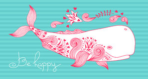 Card Be Happy with Whale Stock Photo