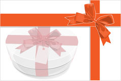 A card be painted white gift Box with red bow Stock Image