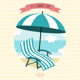 Card with beach armchair and umbrella. Stock Photos