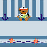 0215_1 card with a bear anchor and fish Stock Photography