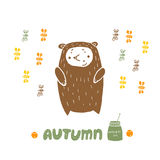 Card Bear in Autumn Royalty Free Stock Image