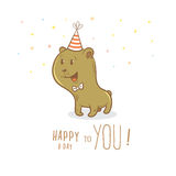 Card with bear. Birthday card with cute cartoon bear in party hat. Little funny animal. Children's illustration. Vector image Stock Photography