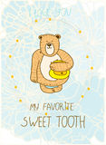 Card with a bear with honey on the background blue colors a Royalty Free Stock Photo