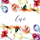 Card with beautiful flowers and title LOVE Stock Photo