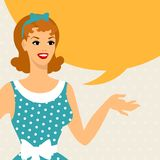 Card with beautiful pin up girl 1950s style says Royalty Free Stock Photo