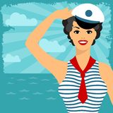 Card with beautiful pin up sailor girl 1950s style Stock Photos