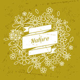 Card with beautiful simple flowers, beetles and Royalty Free Stock Images