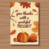 Card for Thanksgiving with pumpkins and leaves around the perimeter. Vector illustration. Card beige for Thanksgiving with orange pumpkins and fallen leaves Royalty Free Stock Photography