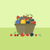 Card with berries in flat style. Vector illustration. Card with basket with berries on a table. Flat design vector illustration royalty free illustration