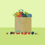 Card with berries in flat style. Vector illustration. Card with package with berries on a table. Flat design vector illustration stock illustration