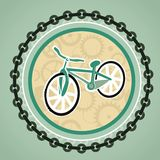 Card with bicycle. And round frame vector illustration